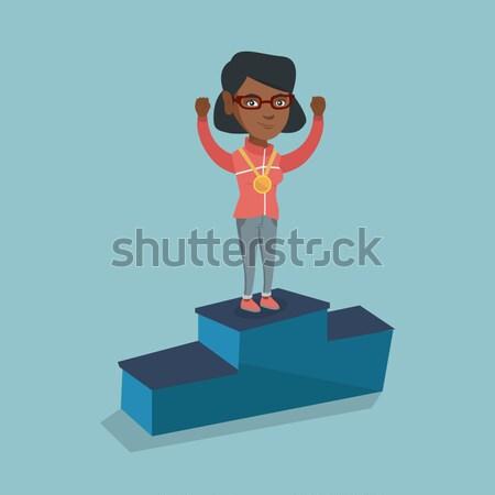 спортсмен подиум поднятыми руками Сток-фото © RAStudio