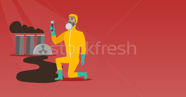 Man in gas mask and radiation protective suit. Stock photo © RAStudio