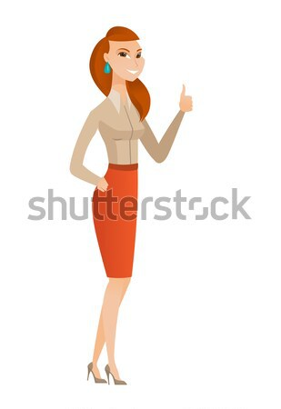 Business woman pointing with her forefinger. Stock photo © RAStudio