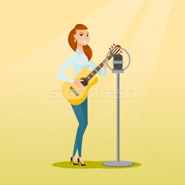 女性 歌 マイク 小さな 白人 女性 ストックフォト © RAStudio