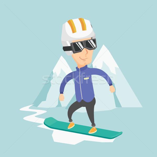 Felnőtt férfi snowboard kaukázusi sportoló hó Stock fotó © RAStudio