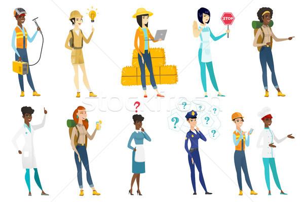 Profi nők vektor illusztrációk szett hivatás Stock fotó © RAStudio