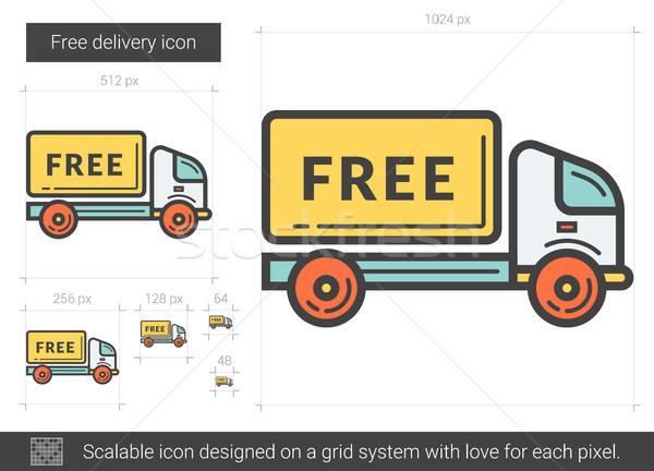 Livraison gratuite ligne icône vecteur isolé blanche Photo stock © RAStudio