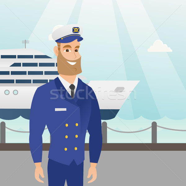 Caucasian ship captain in uniform at the port. Stock photo © RAStudio