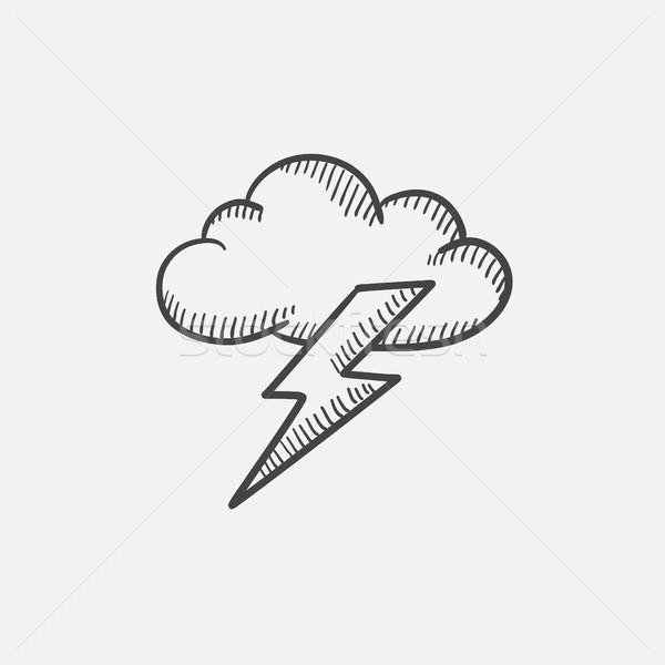 Felhő villám rajz ikon ikon gyűjtemény háló Stock fotó © RAStudio