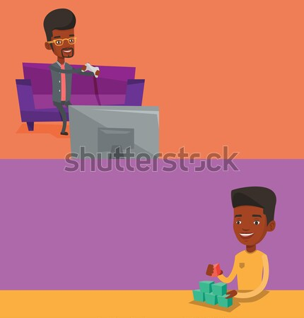 Young african-american woman playing video game. Stock photo © RAStudio