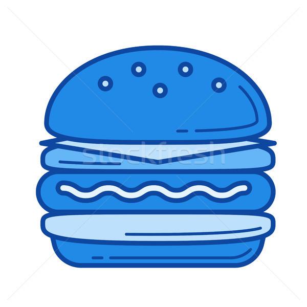 Hamburger ligne icône vecteur isolé blanche Photo stock © RAStudio