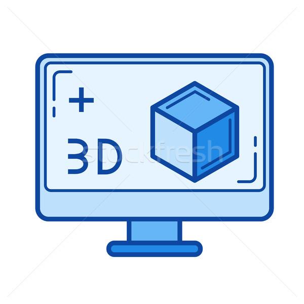 Drie technologie lijn icon vector geïsoleerd Stockfoto © RAStudio