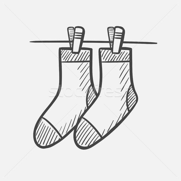 Calcetines dibujado a mano boceto icono vector Foto stock © RAStudio