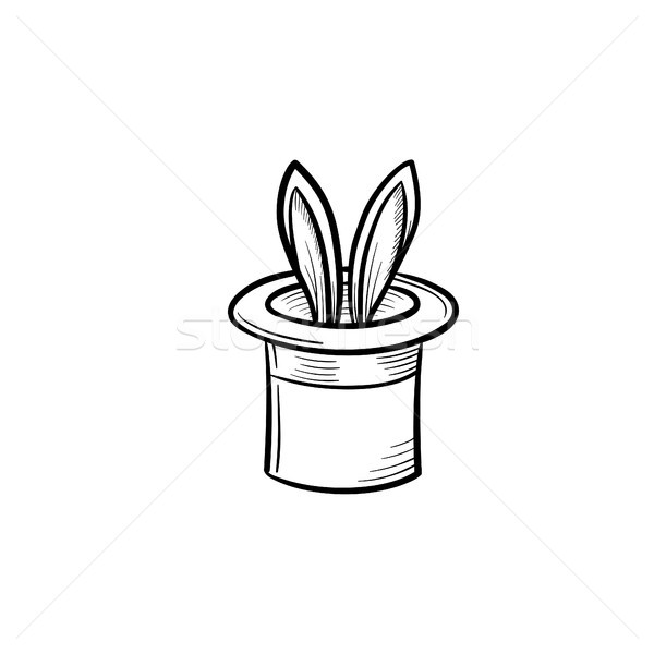 Magician hat with rabbit hand drawn sketch icon. Stock photo © RAStudio