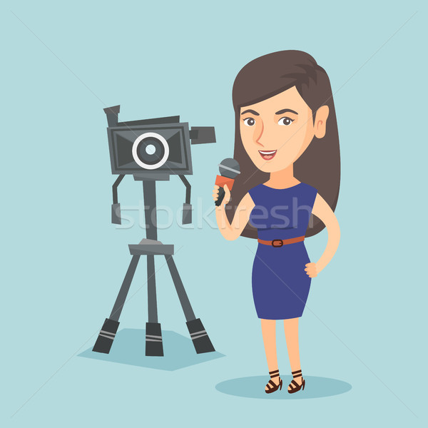 кавказский телевизор репортер микрофона камеры Постоянный Сток-фото © RAStudio