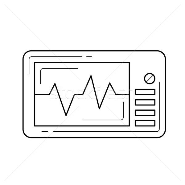 Cardio monitor linha ícone batimento cardíaco vetor Foto stock © RAStudio