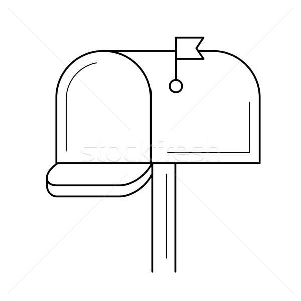 Stock fotó: Postaláda · vonal · ikon · izolált · fehér · vektor