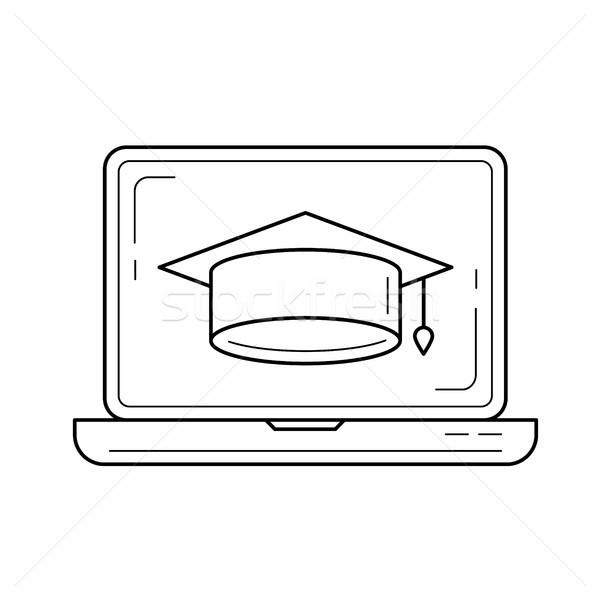 Afstuderen cap computerscherm vector lijn icon Stockfoto © RAStudio