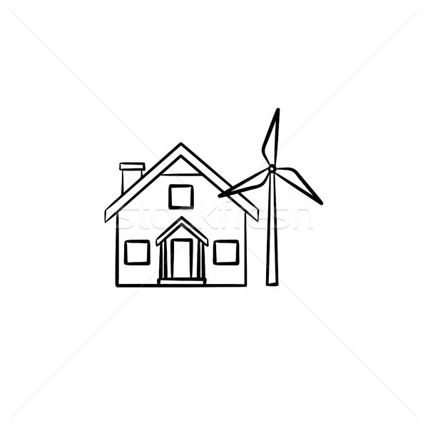 House with wind generator hand drawn icon. Stock photo © RAStudio