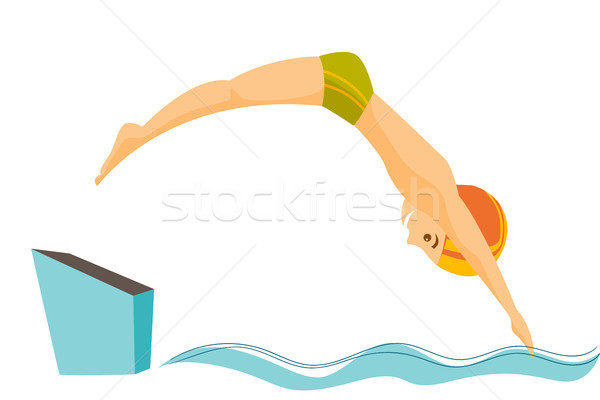 Stock photo: Caucasian man jumping in the swimming pool.