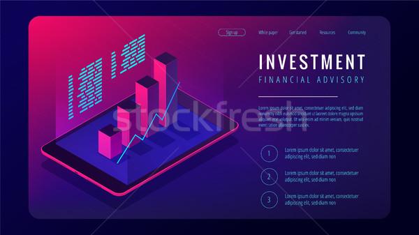 Isométrica investimento financeiro aterrissagem página comprimido Foto stock © RAStudio