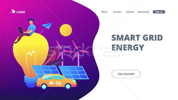 Smart grid energy landing page. Stock photo © RAStudio