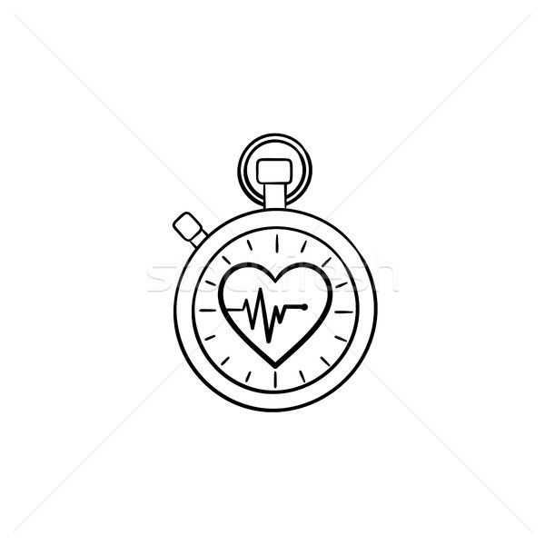 Stopwatch with heart symbol hand drawn outline doodle icon. Stock photo © RAStudio