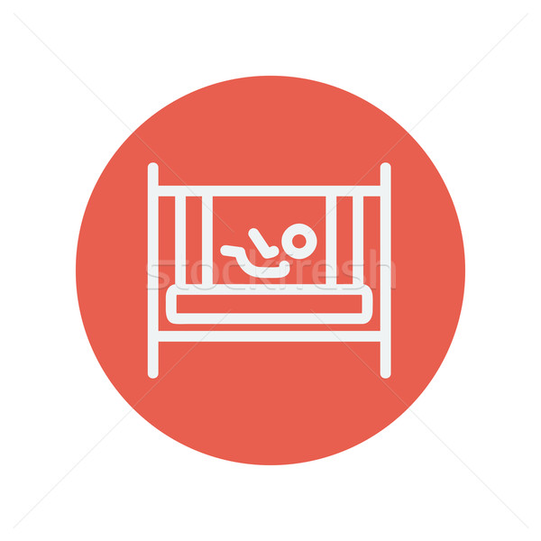Baby inside the crib thin line icon Stock photo © RAStudio