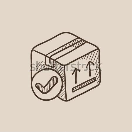 Kazetta játékos ikon rajzolt kréta kézzel rajzolt Stock fotó © RAStudio