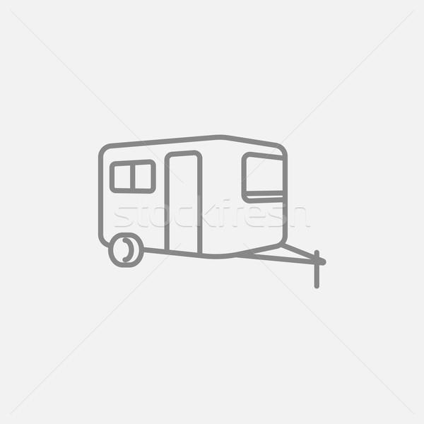 Foto stock: Caravana · linha · ícone · teia · móvel · infográficos