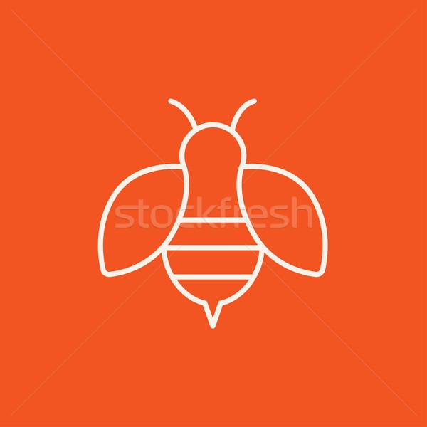 Méh vonal ikon háló mobil infografika Stock fotó © RAStudio