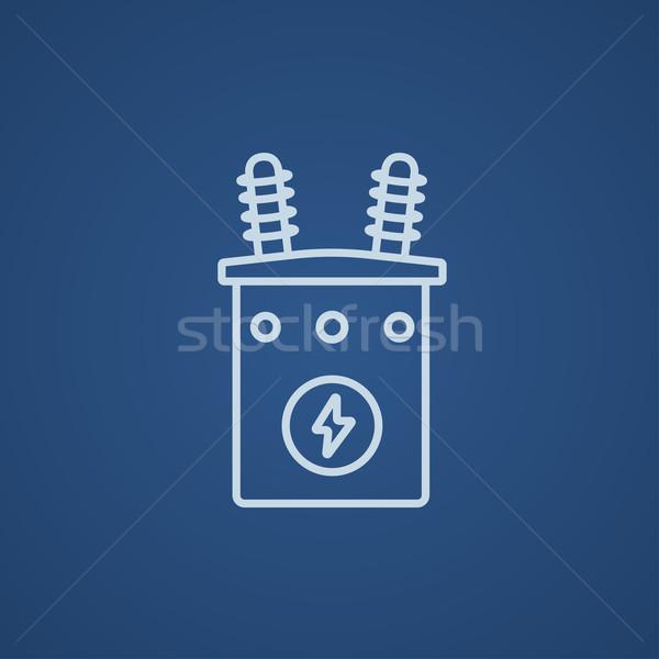 Alta tensão transformador linha ícone teia móvel Foto stock © RAStudio