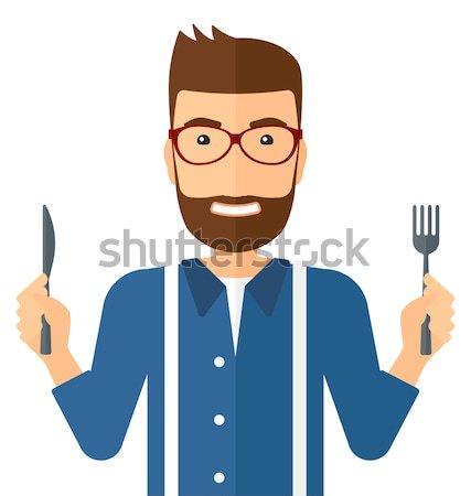 Hungrig Mann warten Essen Gabel Messer Stock foto © RAStudio