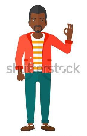 Adam işaret yukarı işaret parmağı vektör dizayn Stok fotoğraf © RAStudio