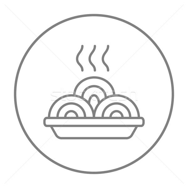 Hot meal in plate line icon. Stock photo © RAStudio