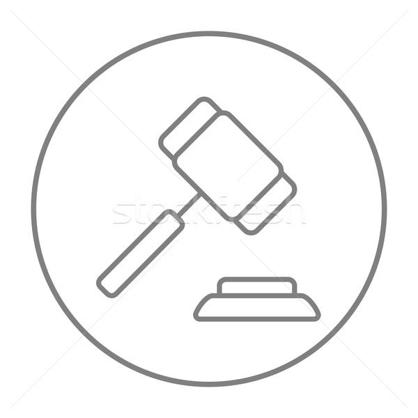аукционе молоток линия икона веб мобильных Сток-фото © RAStudio