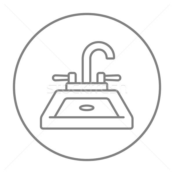 Foto d'archivio: Sink · line · icona · web · mobile · infografica