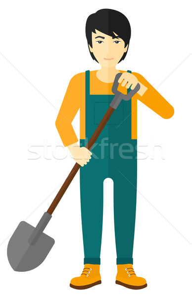 Landbouwer spade asian vector ontwerp illustratie Stockfoto © RAStudio