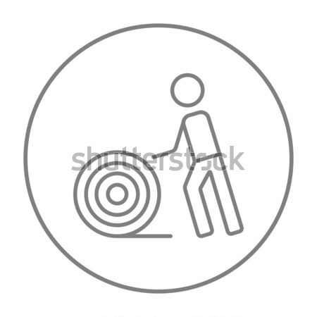 Man with wire spool line icon. Stock photo © RAStudio