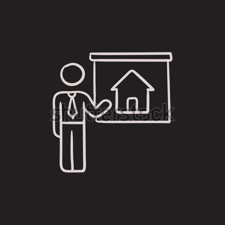 Agent immobilier maison ligne icône Photo stock © RAStudio