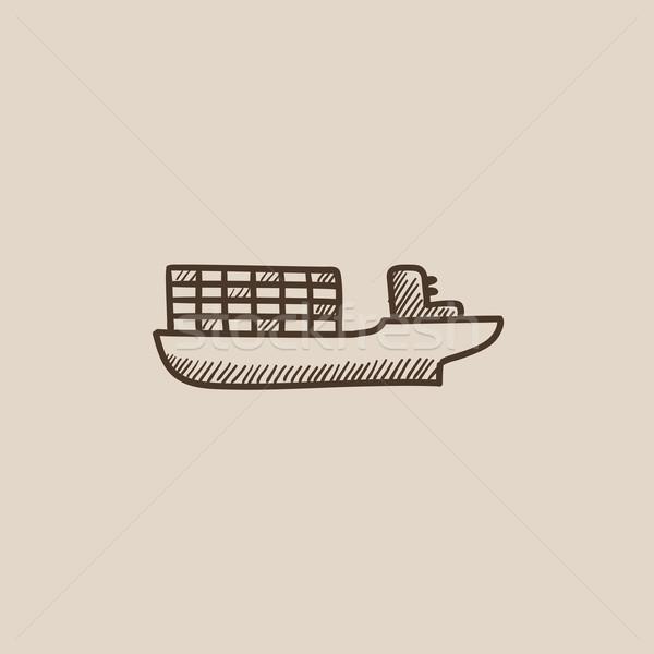 貨物 コンテナ船 スケッチ アイコン ウェブ 携帯 ストックフォト © RAStudio