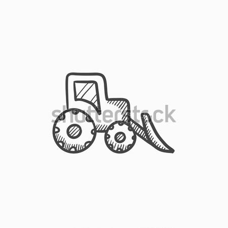 Escavadeira esboço ícone teia móvel infográficos Foto stock © RAStudio