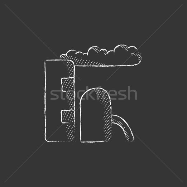 Finomító növény rajzolt kréta ikon kézzel rajzolt Stock fotó © RAStudio