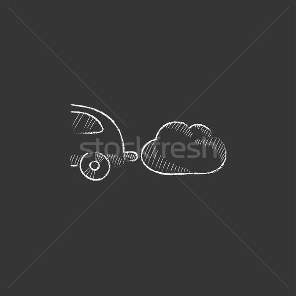 Car spewing polluting exhaust. Drawn in chalk icon. Stock photo © RAStudio