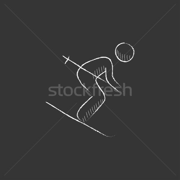 Downhill skiing. Drawn in chalk icon. Stock photo © RAStudio