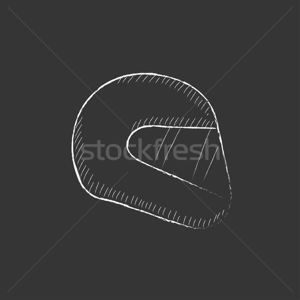 Motorcycle helmet. Drawn in chalk icon. Stock photo © RAStudio