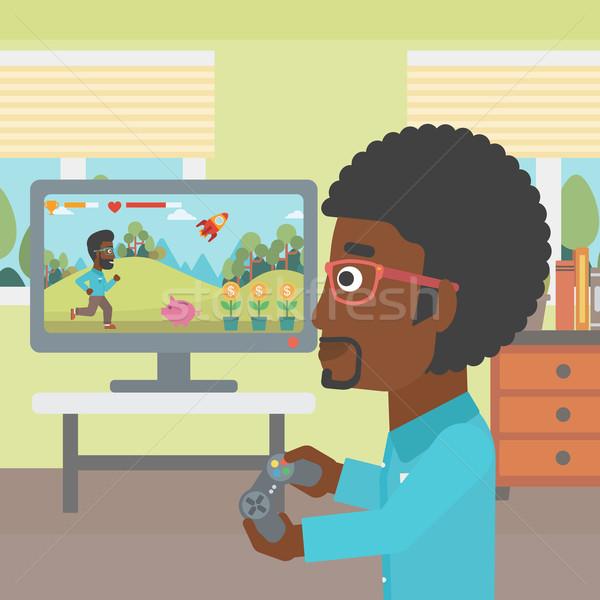 Photo stock: Homme · jouer · jeu · vidéo · gamepad · mains · salon