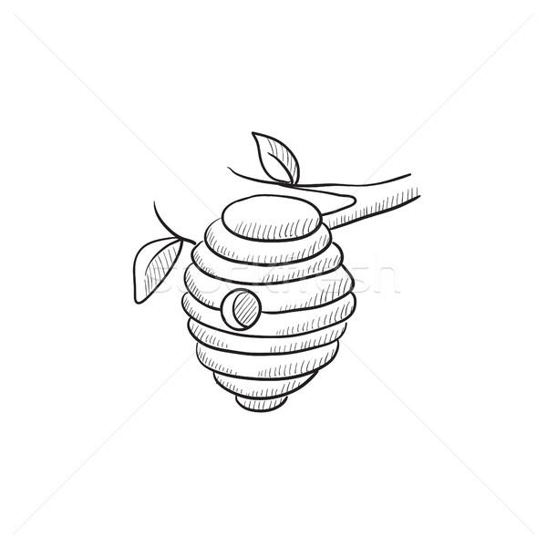 ストックフォト: 蜂 · ハイブ · スケッチ · アイコン · ウェブ · 携帯