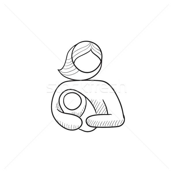 Woman holding baby sketch icon. Stock photo © RAStudio