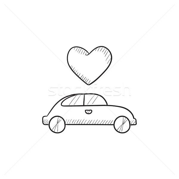 Hochzeit · Auto · Herz · Skizze · Symbol · Vektor - vektor-grafiken ...