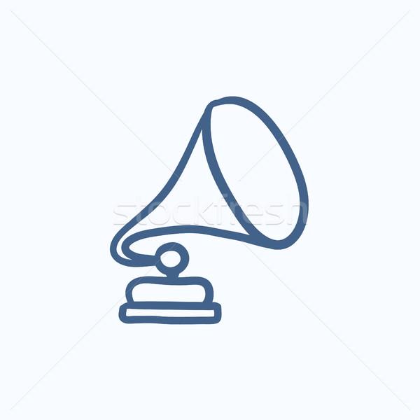 Gramofon kroki ikon vektör yalıtılmış Stok fotoğraf © RAStudio