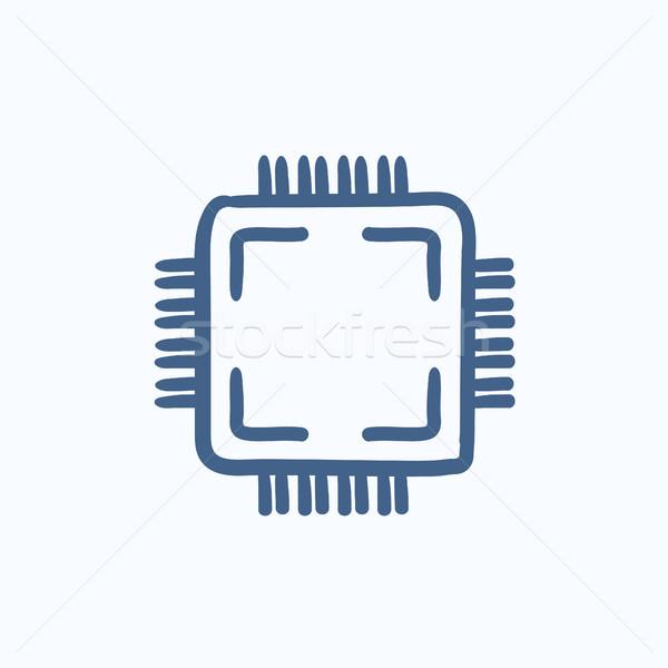 CPU boceto icono vector aislado dibujado a mano Foto stock © RAStudio