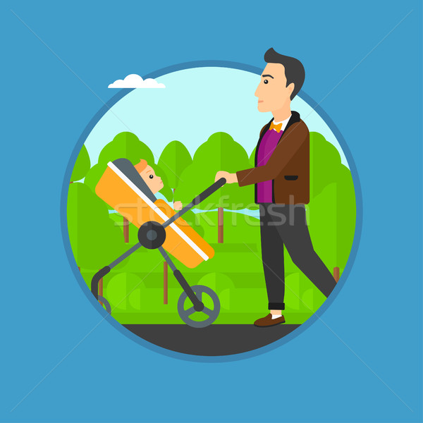 Father walking with his baby in stroller. Stock photo © RAStudio