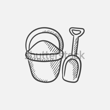 Bucket and spade for children sketch icon. Stock photo © RAStudio
